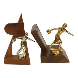 Mid-Century Modern Bowling Trophies - a Pair For Sale