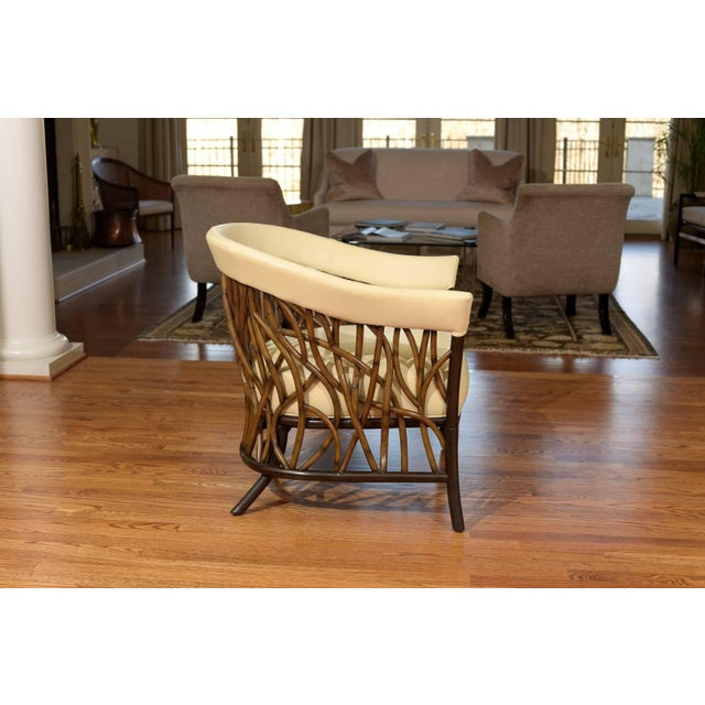 Wood Stunning Pair of Rattan Club Chairs in Parchment Leather For Sale - Image 7 of 10