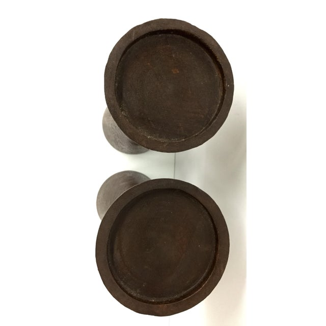 1950s 1950s Boho Chic Solid Wood Candle Holders - a Pair For Sale - Image 5 of 13