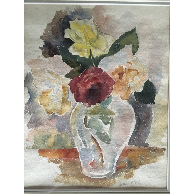 Floral Still Life With Roses Watercolor For Sale - Image 4 of 6