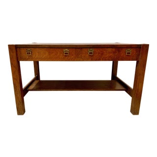 Antique Mission Oak Arts & Crafts Era Desk Att. To Roycroft For Sale