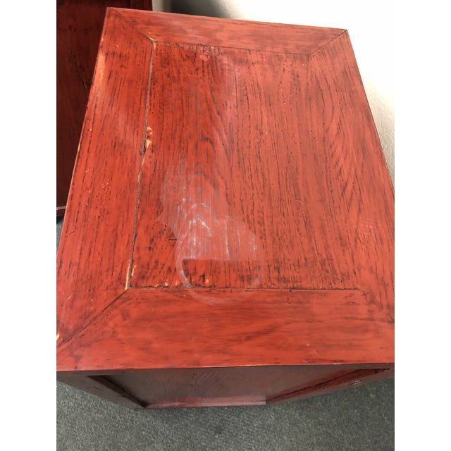 Antique Asian Red Lacquer Side Tables - a Pair For Sale - Image 4 of 13