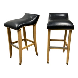 Late 20th Century Slope Leather & Wood Bar Stools - a Pair For Sale
