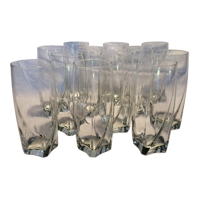 12 Crystal Square Base Water Glasses For Sale