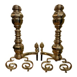 19th Century Pair of Monumental American Brass Andirons For Sale