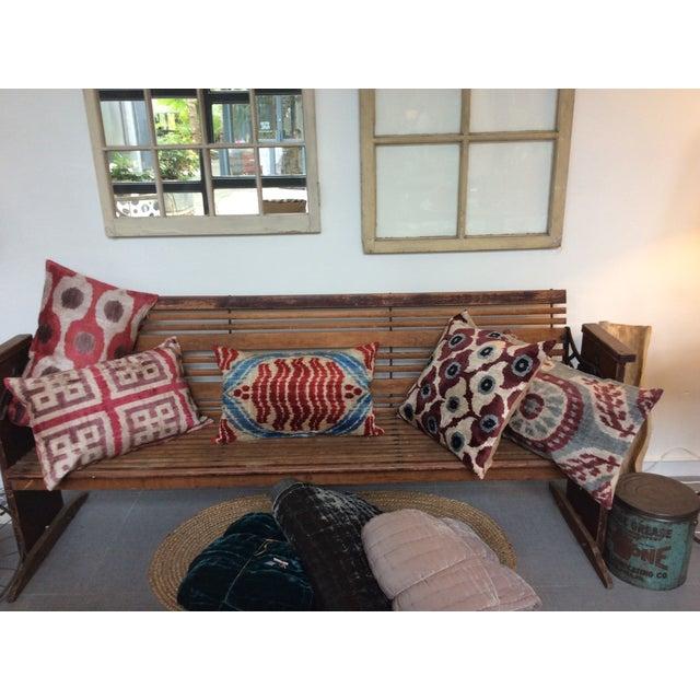 Purple Silk Velvet Ikat Pillow - Image 5 of 5