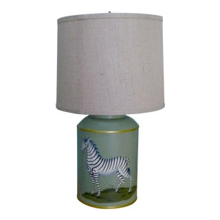 Woolpit Handpainted Zebra Tea Canister Lamp