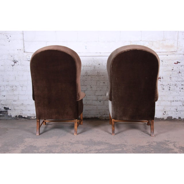 Metal Midcentury Brown Velvet Porter's Chairs, Pair For Sale - Image 7 of 12