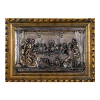 Early 20th Century The Last Supper Silver Bas-Relief Plaque For Sale