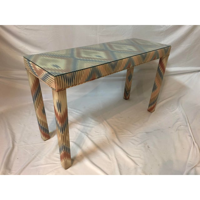 Vintage Upholstered Parsons Console Table For Sale - Image 13 of 13