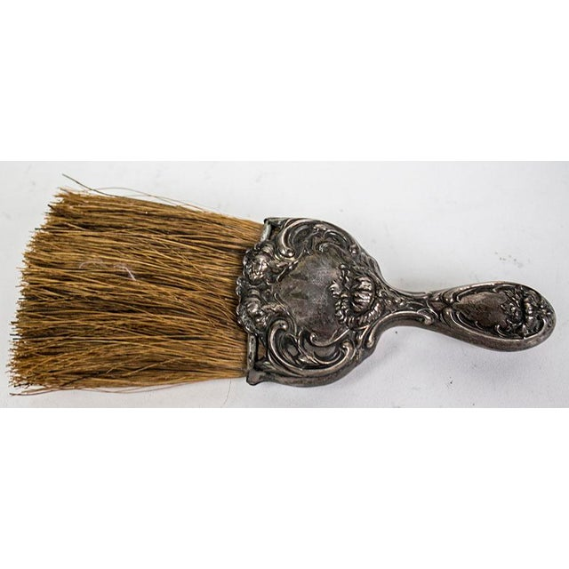1930s Art Nouveau Sterling Silver Whisk Table Crumb Brush For Sale - Image 5 of 6