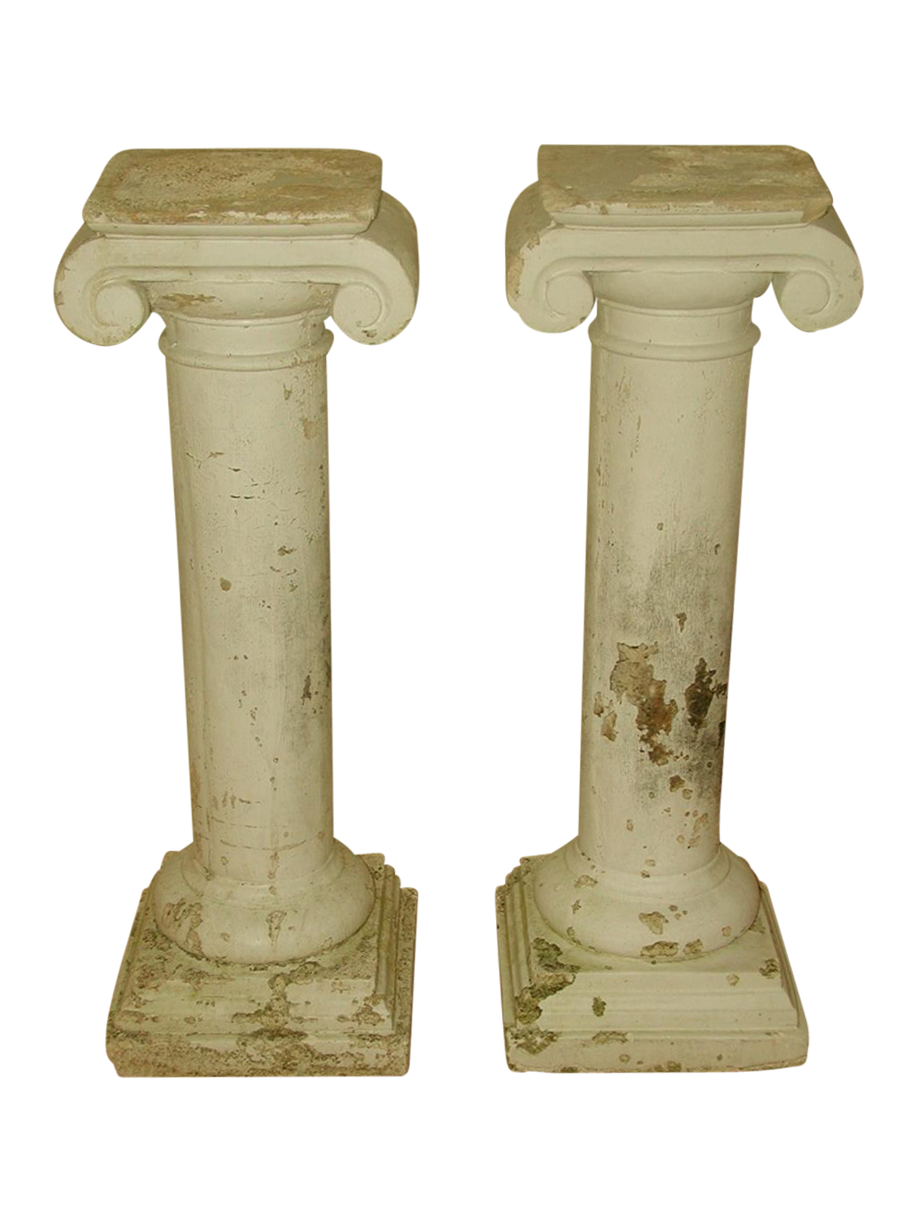 Merveilleux Architectural Plaster Column Table Bases   A Pair For Sale