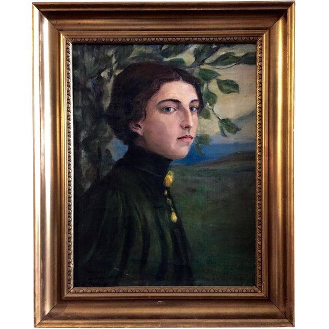 19th Century O/C Portrait of a Girl, Scandinavian For Sale