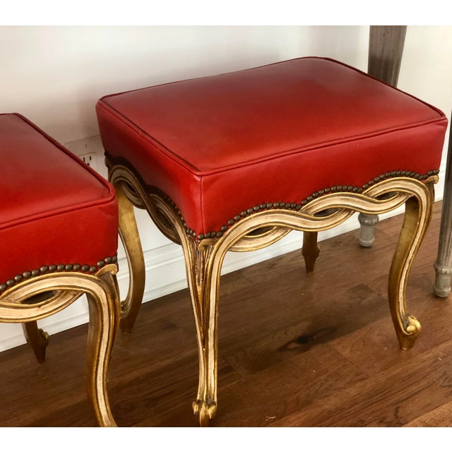 Pair of Regency Style Ribbon Taboret Bench by Randy Esada Designs for Prospr in Red-orange Leather.