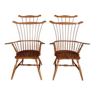 Duckloe & Bros Pennsylvania Fan High Comb Back Windsor Arm Chairs - a Pair For Sale