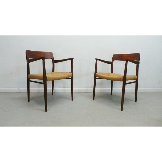 Niels Moller Mid Century j.l. Moller Danish Modern Teak Framed Rope Seat #56 Arm Dining Chairs by j.l. Moller For Sale - Image 4 of 11