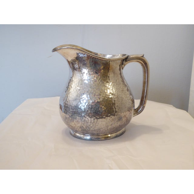 Mid 20th Century Vintage Reed & Barton Hammered Silvery Pitcher For Sale - Image 5 of 5
