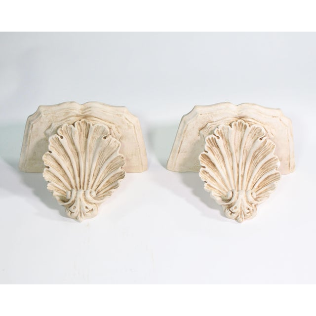 1940s Hollywood Regency White Plaster Wall Shell Corbels - a Pair For Sale - Image 4 of 7