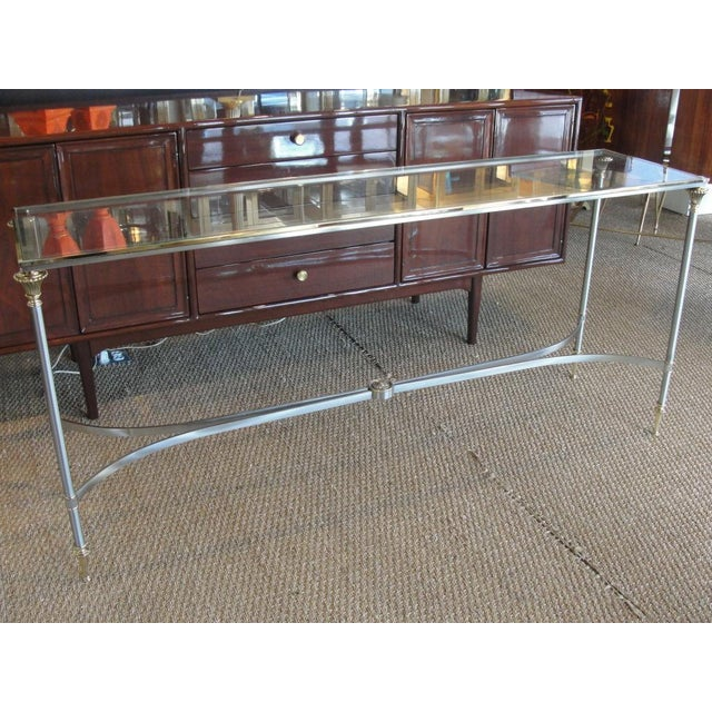 1960s Elegant Two-Tone Steel & Brass Console by Jansen For Sale - Image 5 of 5