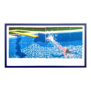 "David Hockney Rare Vintage 1994 Iconic Lithograph Print Large Framed Poster "" Le Plongeur ( Paper Pool 18 ) "" 1978 For Sale"