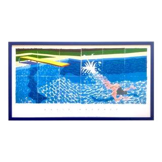 "David Hockney Rare Vintage 1994 Iconic Lithograph Print Large Framed Poster "" Le Plongeur ( Paper Pool 18 ) "" 1978 For Sale"