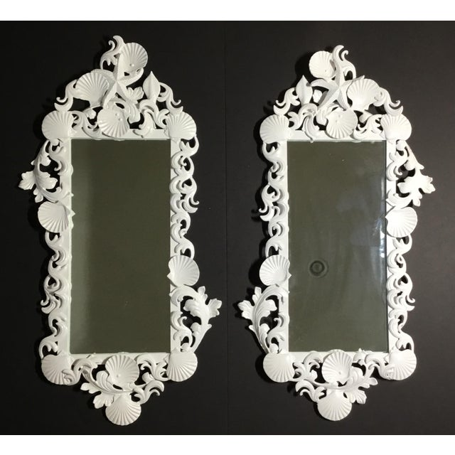 White Sea Shell Mirrors - a Pair For Sale - Image 9 of 13
