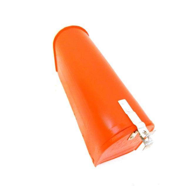 Orange Vintage Industrial Fire Orange Metal Mailbox For Sale - Image 8 of 11