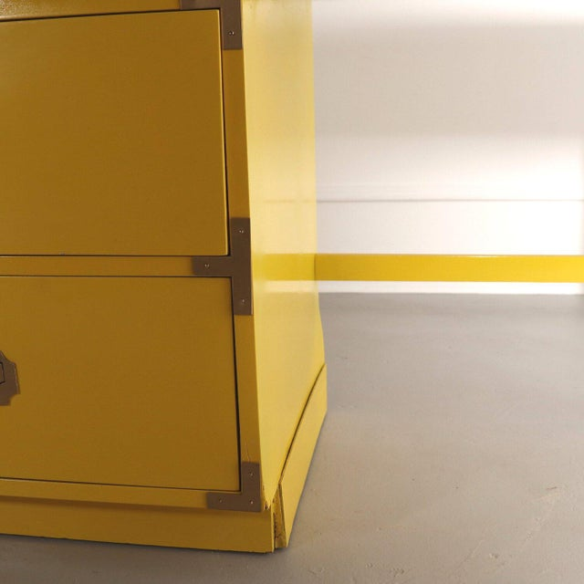Yellow Lacquered Bright Yellow Campaign Desk For Sale - Image 8 of 10