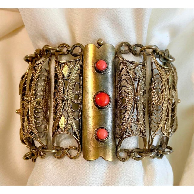 Plated Brass Filigree and Coral Cabochon Bracelet For Sale - Image 9 of 9