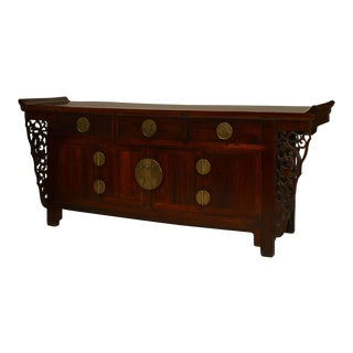 Asian Chinese Rosewood Coffer with 3 Drawers over a Pair of Doors For Sale