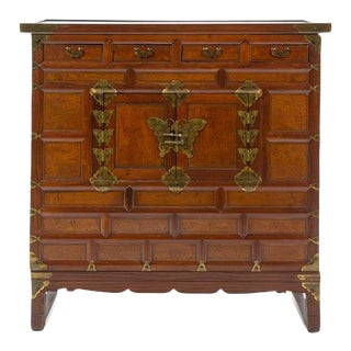 Early 20th Century Antique Korean Brass Mounted Elmwood Cabinet For Sale