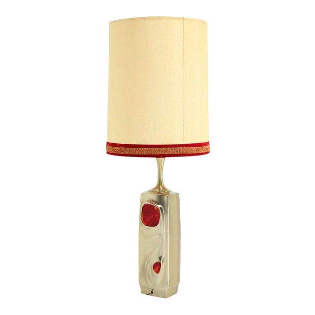 Mid-Century Modern Art Nouveau Style Cast Metal Table Lamp For Sale