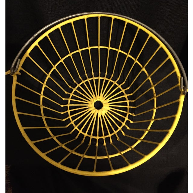 Country Vintage Industrial Farm Yellow Wire Egg Basket For Sale - Image 3 of 5