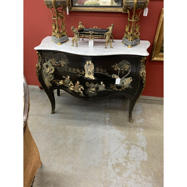 Metal Louis XV Style Gilt Bronze Mounted Chinoiserie Japanese Decorated Commode For Sale - Image 7 of 8