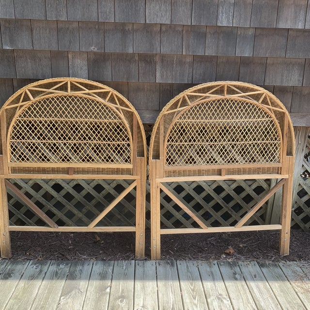Vintage Wicker Headboards- a Pair For Sale - Image 4 of 13