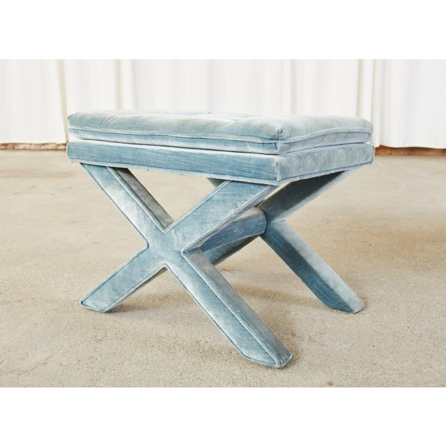 Mid-Century Modern Pair of Billy Baldwin Style X Base Tufted Blue Velvet Benches For Sale - Image 3 of 13