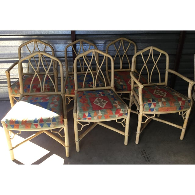 Tan Bamboo Dining Chairs, Set of 6 For Sale - Image 8 of 8