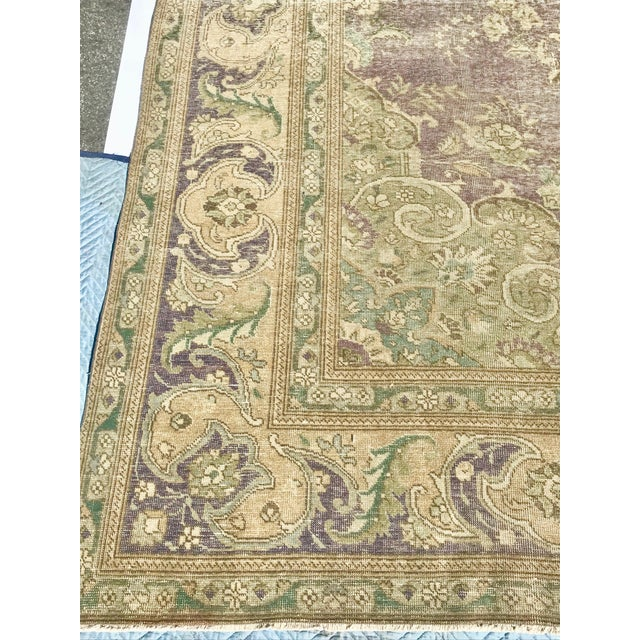 Large Antique Turkish Plum, Green, Beige Wool Rug - 9′5″ × 12′5″ For Sale - Image 10 of 13