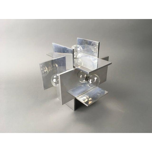 Aluminum Rare Vintage Paul Mayen for Habitat Post Modern Geometric Aluminum Planed Lamp For Sale - Image 7 of 7