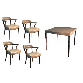 Mid-Century Barnard & Simonds Taupe Leather Game Table and Chairs For Sale