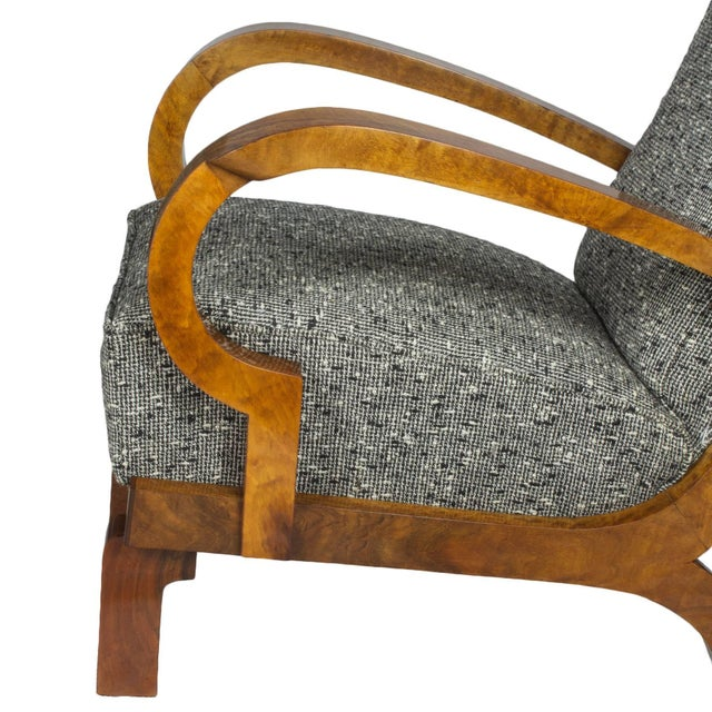 Wood 1930s Pair of Art Deco Armchairs, Walnut, Wool, Italy For Sale - Image 7 of 11