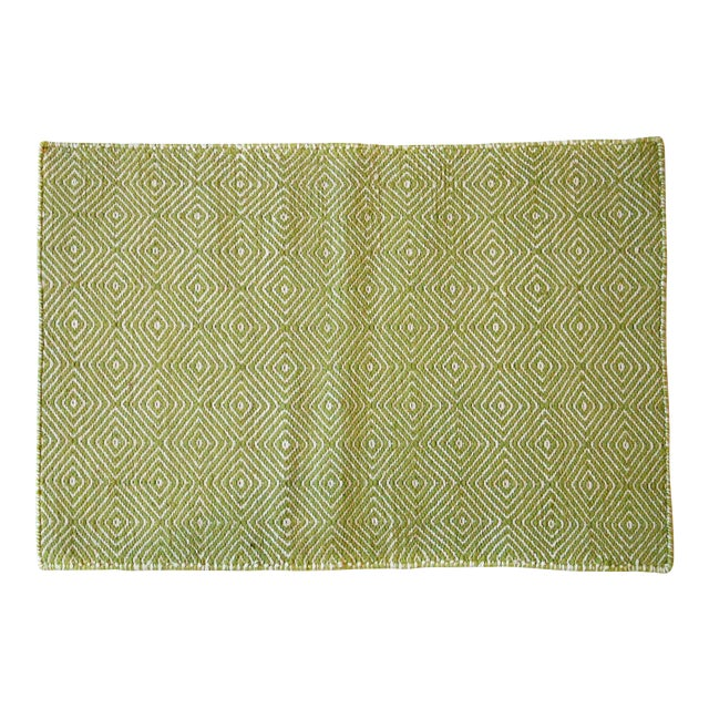 Aelfie Green & White Woven Rug - 2' X 3' - Image 1 of 3