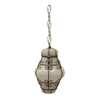 Vintage Seguso Murano White Glass Cage Pendant Light