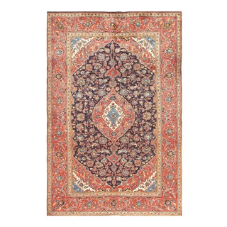 1950s Vintage Kashan Hand-Knotted Rug-6′9'x10′2″ For Sale