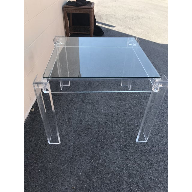 Plastic 1970s Modern Clear Lucite Table For Sale - Image 7 of 7