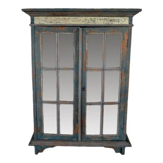Rustic Hand Carved Goan Indian Cabinet with Glass Doors from the 19th Century For Sale