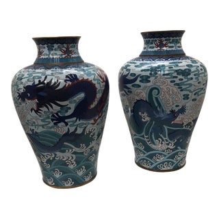 Chinese Ming Dynasty Themed Dragon Cloisonne Vases - a Pair