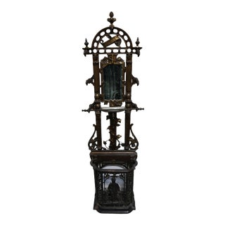 "19th Century French Iron With Latin ""Salve"" Message Hall Tree For Sale"