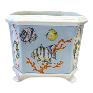 1996 Lynn Chase Reef Medium Cache Pot Planter Tropical Fish China Decorative For Sale