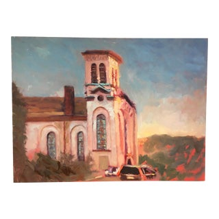 """""""Travel to Sunlit Church"""" Contemporary Impressionist Style Architectural Oil Painting For Sale"""